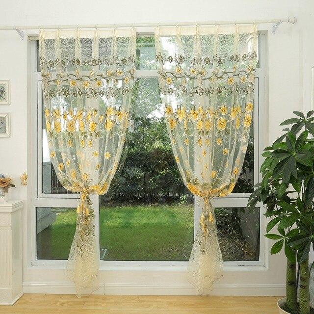 NAPEARL Fashion design moderno trasparente tende di tulle trattamenti di finestra soggiorno camera da letto per bambini colorato giallo puro