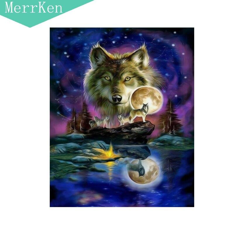 5d Diy diamond painting cross stitch The moonlight Wolf diamond embroidery diamond mosaic home decor beading 40x30cm