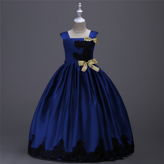 Königsblau Gelb Spitze Satin Prinzessin Mädchen Kleid für Party und ...