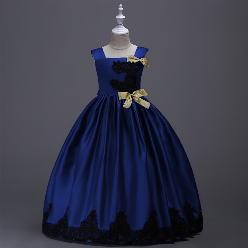 Royal Blue Yellow Lace Satin Princess Girls Long Dress for Party and Wedding Kids Pageant Dresses for Girls Children Ball Gowns