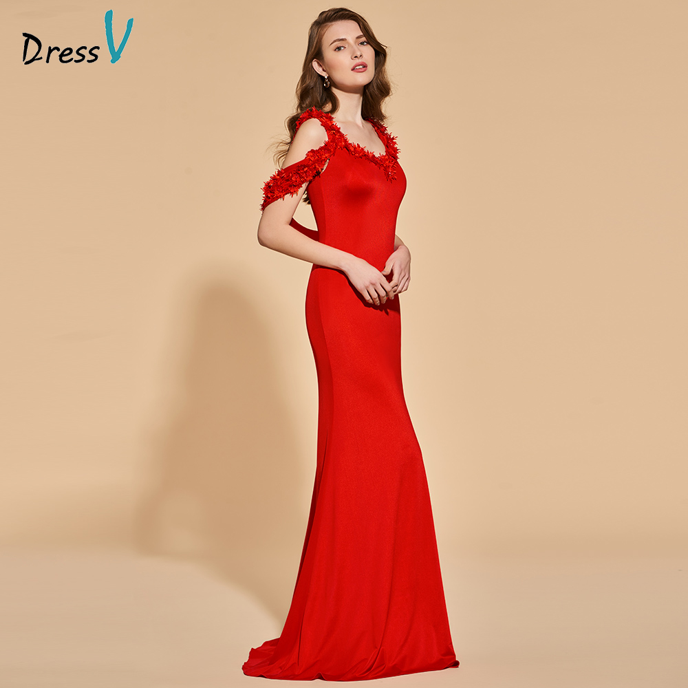 Dressv Red Evening Dress Mermaid Sleeveless Elegant Appliques Floor-length Wedding Party Formal Dress Trumpet Evening Dresses