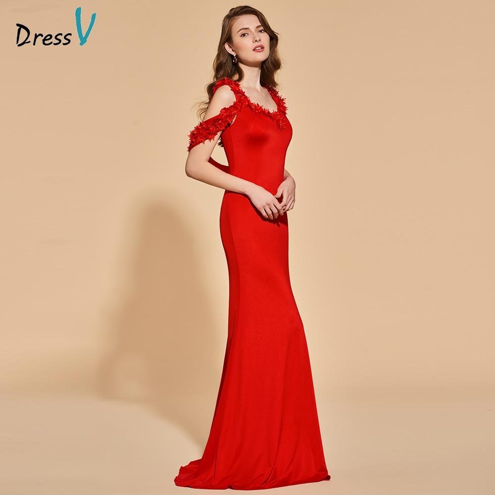 Dressv Red Evening Dress Mermaid Sleeveless Elegant Appliques Floor-length Wedding Party Formal Dress Trumpet Evening Dresses
