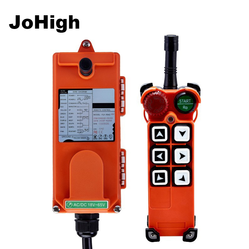 F21-E1 6 Buttons Industrial <font><b>Remote</b></font> <font><b>Control</b></font> AC/DC Universal Wireless <font><b>control</b></font> for <font><b>Hoist</b></font> Crane 1 transmitter + 1receiver image