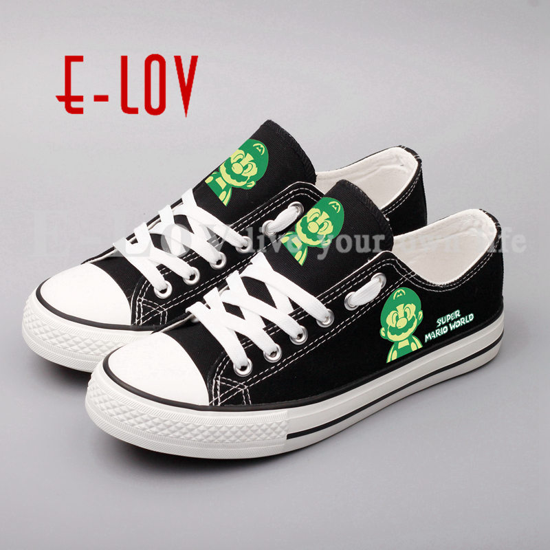 Fashion Women Casual Canvas Shoes Printed Cartoon Anime Shoes Female Lace-up Flats Unisex Hip Hop Canvas Shoe Plus Size