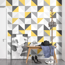 Nordic style Art geometric 3D wallpaper fresh creamy yellow grey triangle pattern design girl room living background