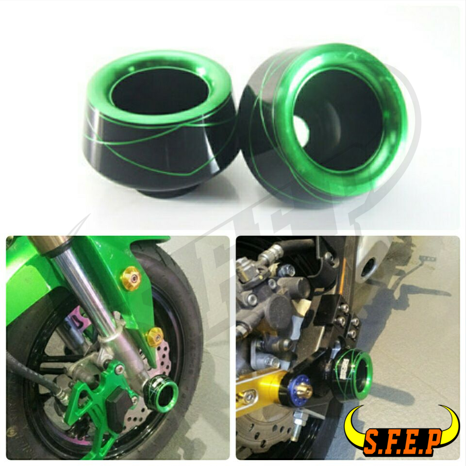 Universal Motorcycle Front Rear Fork Wheel Fall Protection Frame Slider Anti Crash Protector For Kawasaki Z650 Z900 ZX6R ZX10R