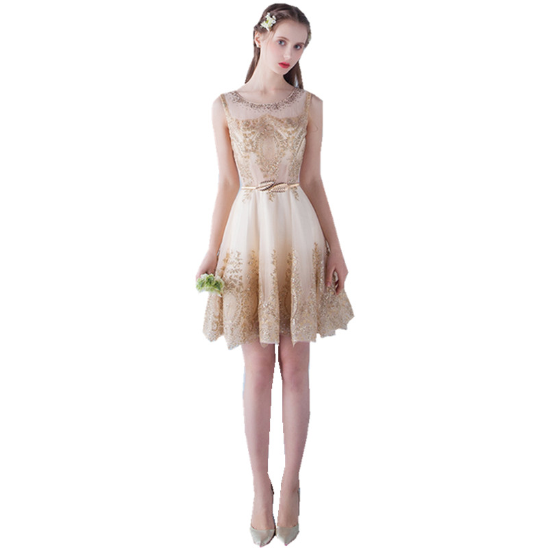 Short gold dresses for cheap