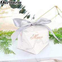 "OurWarm 10pcs Marble Candy Box Merci ""Gracias"" Thank You Cardboard Gift Wedding Birthday  Baby Shower Party Favor"