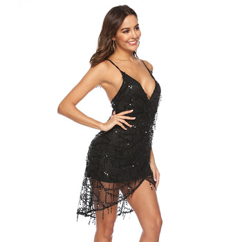 Sexy Black Sequin summer dress women beach Backless club outfits Spaghetti Strap Party dress woman bodycon dresses vestidos 2020 1