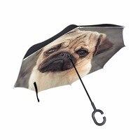 Cute Dog Pug Reverse Umbrella Windproof Umbrella C Handle Double Deck Inverted Car Umbrellas for Kid
