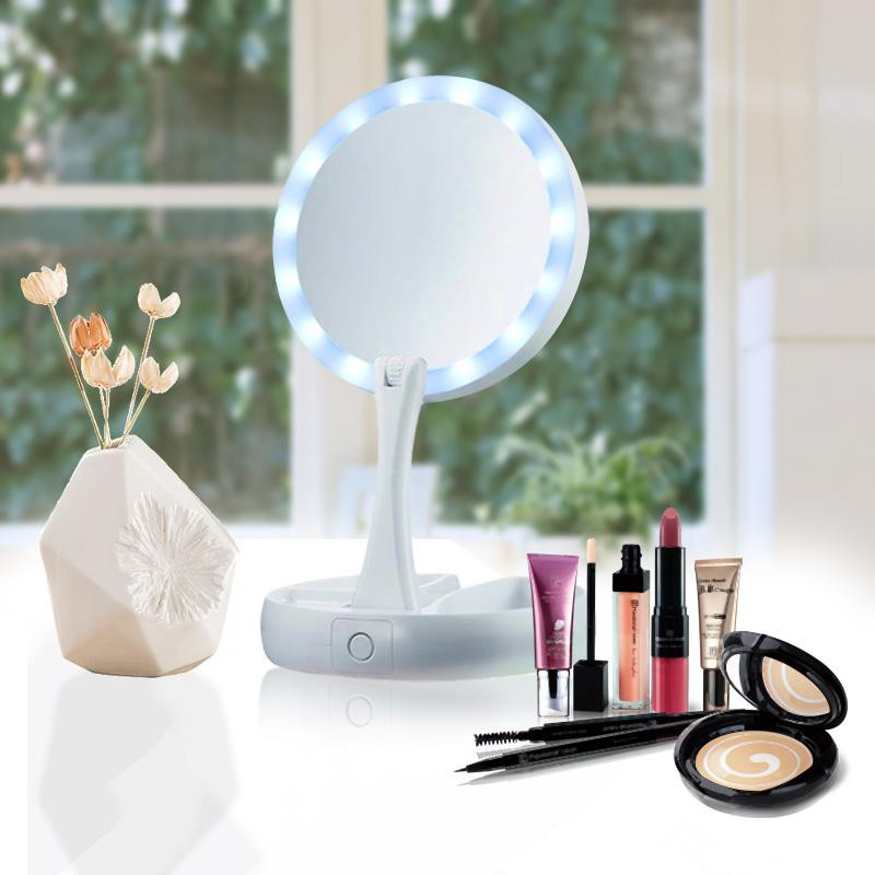 14 LED Light Makeup Mirror Double-sided Portable Tabletop Lamp Professional 10X Vanity Health Beauty Tool Cosmetic Mirror
