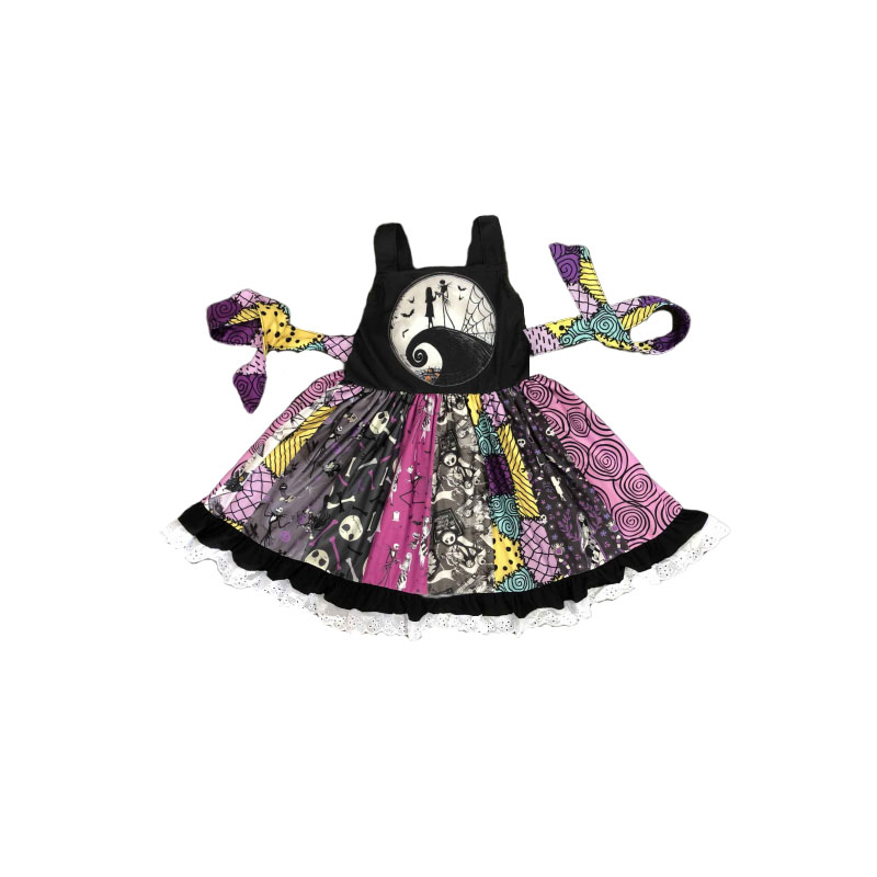 2019 New Design Summer Boutique Kids Dress Halloween Nightmare Print Cothing