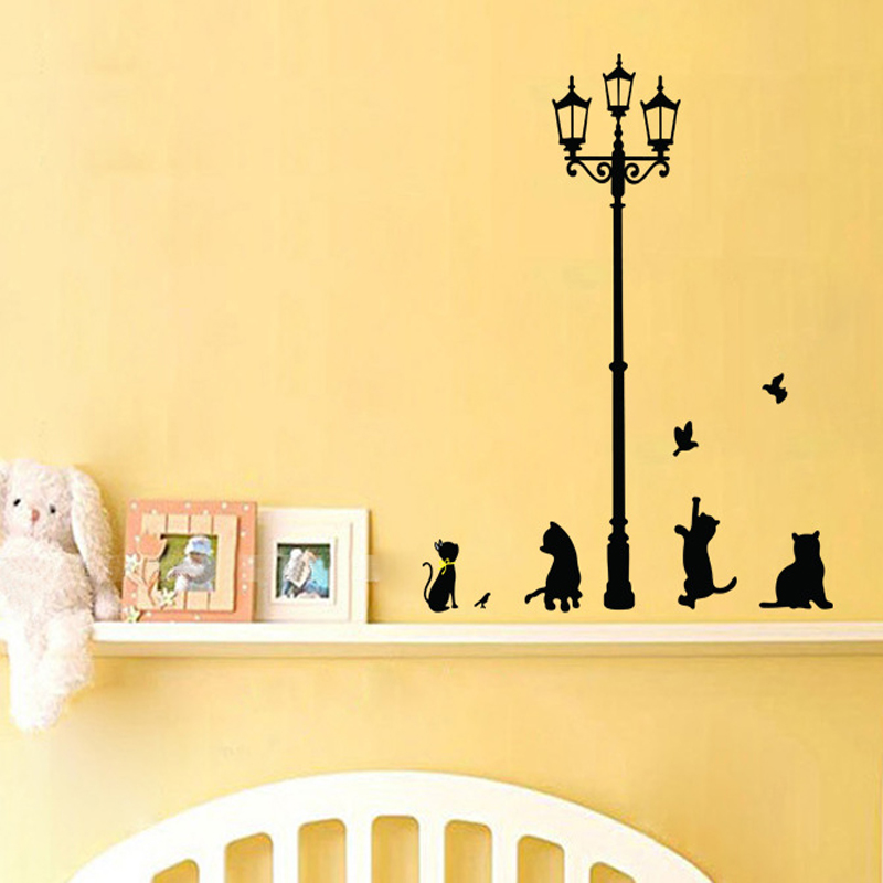 Cat Under Street Lamp DIY Wall Sticker Wallpaper Art Decor Mural Room Decal Adesivo De Parede Kids Room Wall Stickers Home Decor