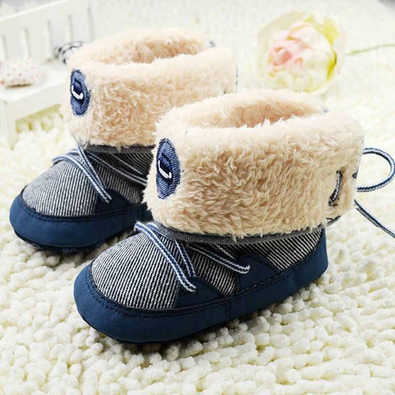 0-18M botas de invierno para bebés botas de nieve de piel cálida zapatos para niños pequeños primeros caminantes cuna bebé con cordones suela suave