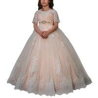 Первое Причастие Платья для девочек 2018 Короткие рукава детское праздничное платье для девочек deguisement enfant fille платье для девочек