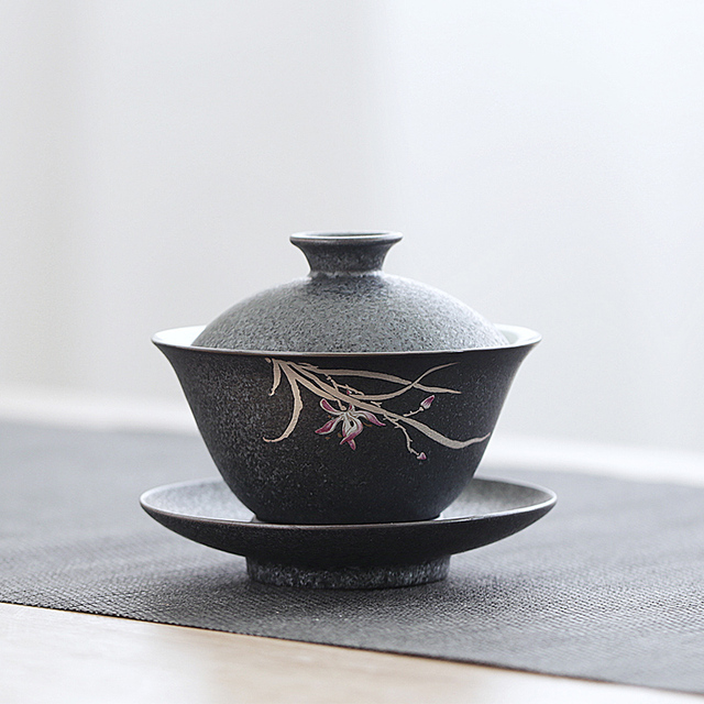 Iron-Glazed Orchid Tureen Gong Fu Tea Bowl