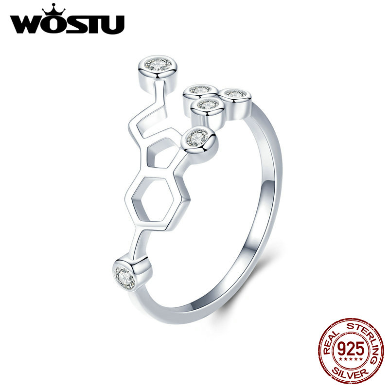 WOSTU New Arrival 925 Sterling Silver The Honeycomb  Finger Rings For Women Ring Original Fashion Brand Jewelry Gift CQR433