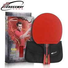 Crossway Professional 6-Star Table Tennis Racket + case Horizontal Double Grip Pimples-in Rubber Ping Pong Blades