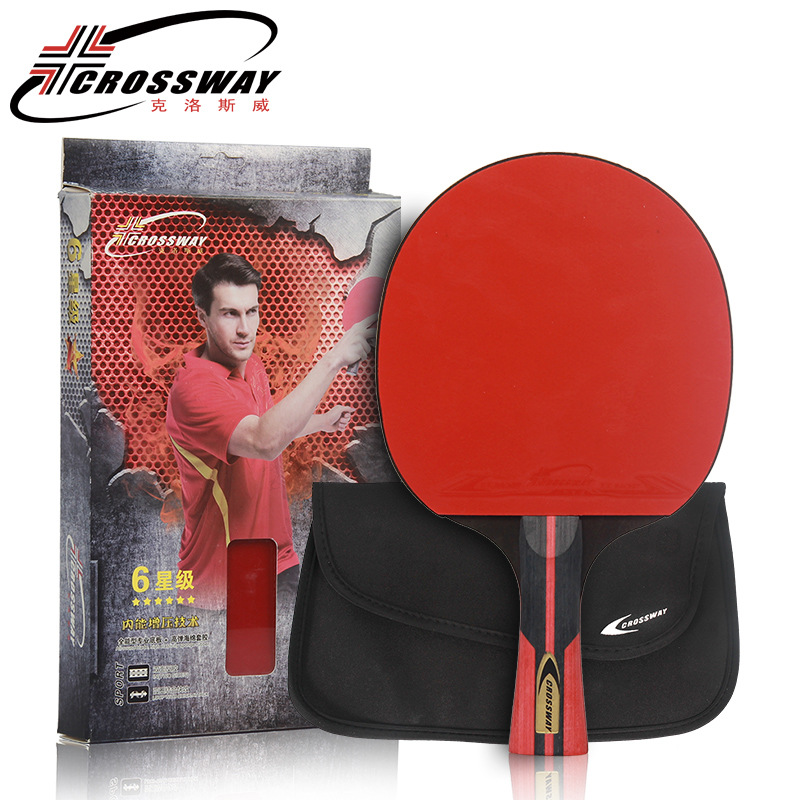 Crossway Professional 6 Star Table Tennis Racket + case Horizontal Double Grip Pimples in Rubber Ping Pong Table Tennis Blades