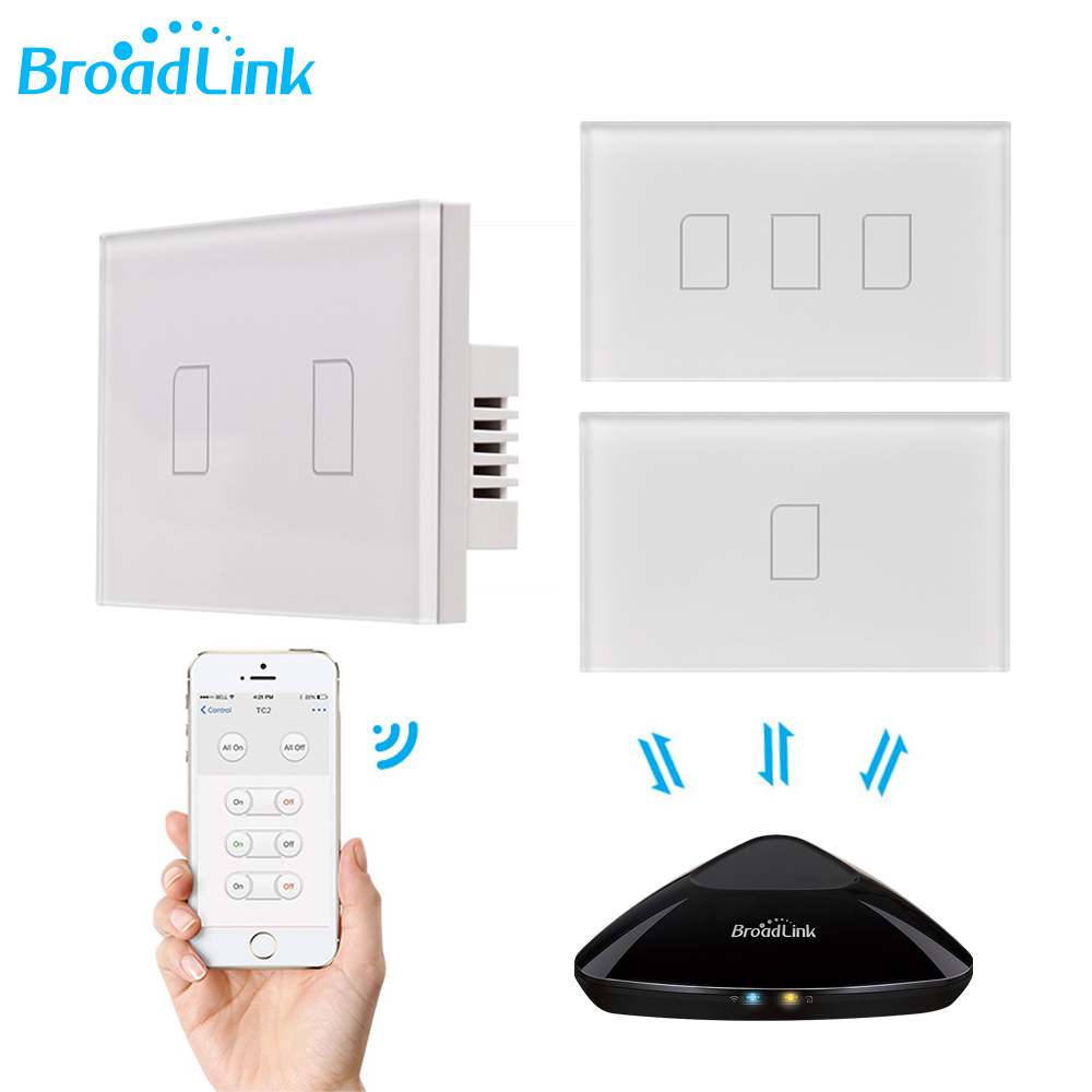 Broadlink TC2 1/2/3Gang 433MHZ Connection Wall Touch Panel Light Switch Remote Control US Standard For Smart Home System 2019New