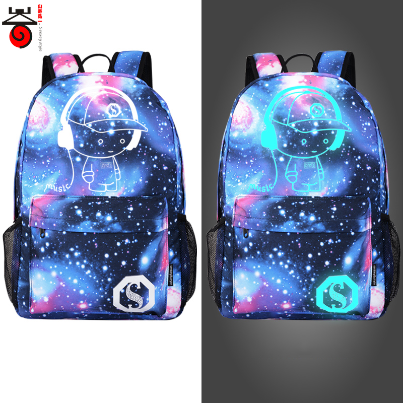 цена на Senkey style Men's Backpack Anime Starry sky Luminous Printing Teenagers Casual Mochila Men Women's Student Cartoon School Bags