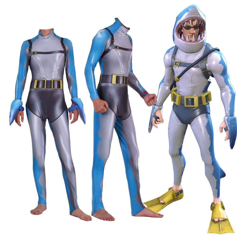 CHAUDE Jeu Fortnitss Kostuum Costume requin 3D Imprimer Fullbody Halloween Fortnitss requin Cosplay Costume Pour Enfants Adulte Personnalisé