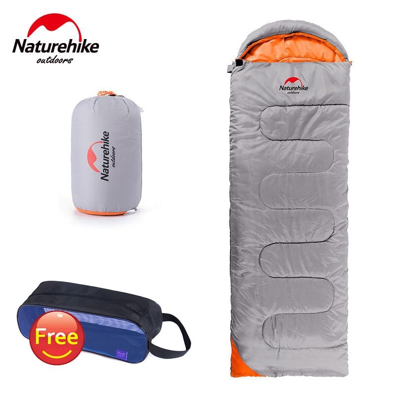 NatureHike 190T Polyester Waterproof Ultralight Spring Autumn Outdoor Camping hiking Envelope Sleeping <font><b>Bag</b></font> with Cap 2200mmx750mm