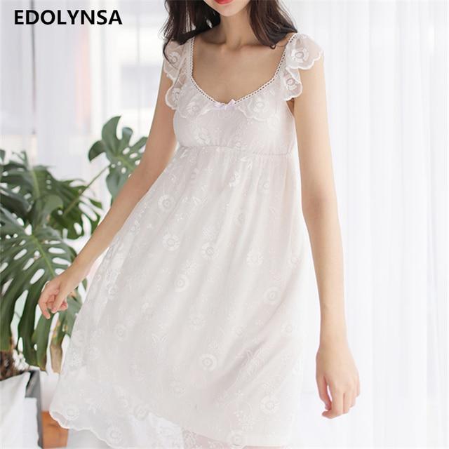 Sexy Nightgowns Sleepshirts Lace Women Sleepwear Nightdress Sleep Lounge Soft  Nightgown Female Solid Nightwear Home Dress  H253 184ef65a6