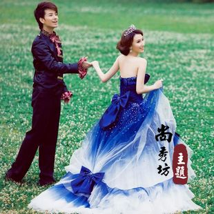 Clothes Train Wedding Dress Blue Gradient Color In Wedding Dresses