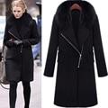 2016 Autumn Winter Coat Women Wool Zipper Jackets Fur Collar Long Woolen Black Coats Black Fashion Casual Slim Outwear Plus size
