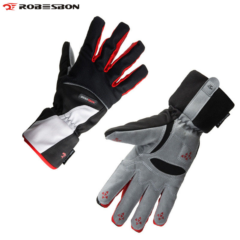 ROBESBON Men Ski Gloves Windproof Outdoor Sport Luva Fleece Thermal Guantes Ciclismo Snowboard Guantes Winter Snow Skiing Gloves