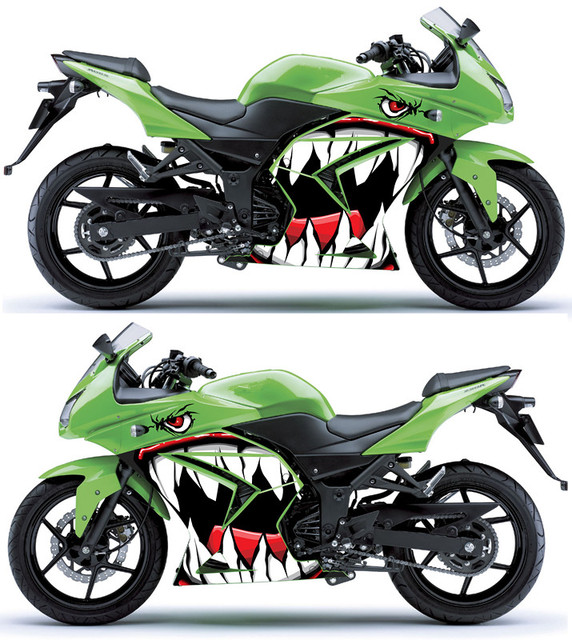 US $19 69 10% OFF|Racing car motorcycle ornament shark universal sticker  Headlight sticker Applique modified sticker for kawasaki suzuki-in Decals &