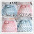5pcs INS ballena Crib Bumpers Cotton Baby Bed Breathable Mesh Bumper Liner Baby Cot Sets Bed Around Protector, pink blue color
