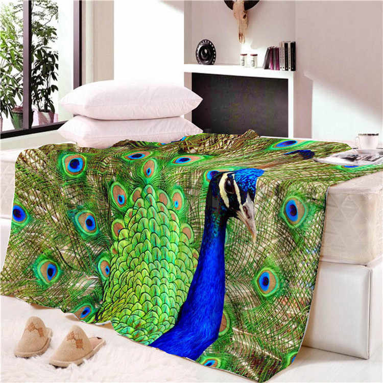 Home Fashion Blanket Oil Painting Design Peacock Print Kids Adults Flannel Quality Home Hotel Air Conditioning Popular