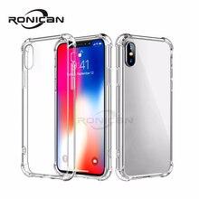 RONICAN telefon kılıfı için iPhone 7 8 artı şeffaf anti vurmak kılıfları için iPhone X 8 7 6 6S 5 5s artı yumuşak TPU silikon arka kapak