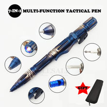 Multi-Function Portable Outdoor Survival Tactical Pen Self Defense Flashlight Emergency Glass Breaker Screwdriver EDC Tool(China)