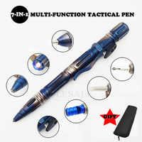 Multi-fonction Portable en plein air survie tactique stylo auto-défense lampe de poche d'urgence verre disjoncteur tournevis EDC outil