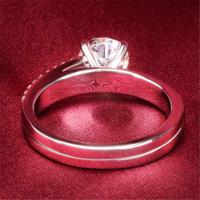 ของแท้เงินคลาสสิกยี่ห้อหมั้นจำลองแหวนเพชรหญิงสีขาวชุบทองP Rongsตั้งเครื่องประดับกึ่งเมาปู