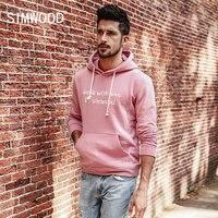 SIMWOOD 2018 Spring Winter New Letter Hoodies Men Fashion Cotton Sweatshirts Front Pocket Hooded Tops Slim