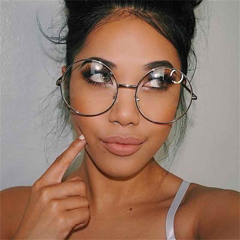 19e1493af6bb1 ... Oversized Round Glasses Women Men Metal Large Big Circle Glasses  Optical Frame Round Eyeglasses Frame Fashion ...