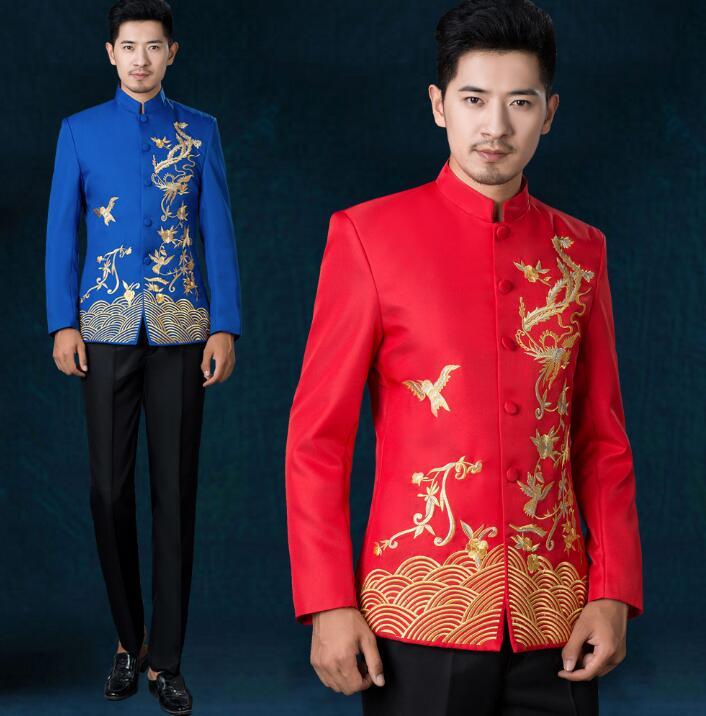 6285e79b7e Para Mens Rojo rojo Formal Soporte Ropa Pantalones Bordado Conjunto Novio  Boda Vestido blanco De Nacional azul Trajes Traje Etapa Collar Cantante ...