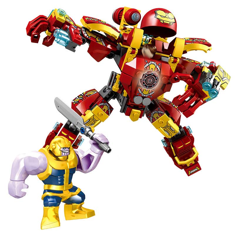 371PCS Iron Man Military Legoing Marvel The Avengers Toys For Children Super Heroes Large Robot Warfare Bricks BKX88