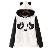 2016 autumn winter New panda hoodie jacket lady animal hoodie women panda sweatshirt with ears Cosplay Animal hoodies tracksuits