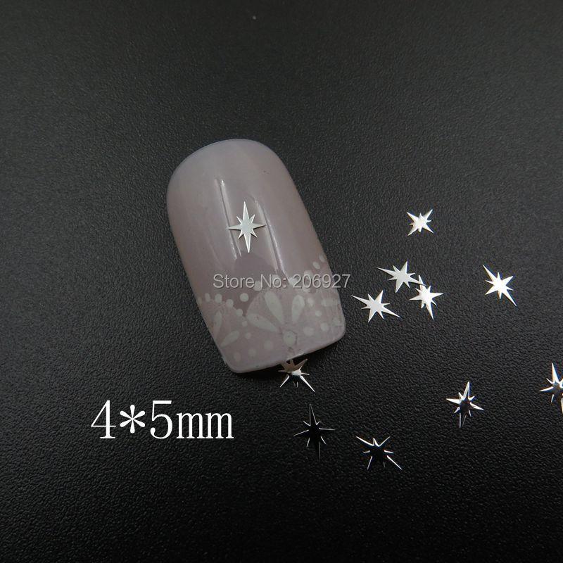MS366-1 100 шт серебряные милые 4*5 мм блестящие металлические наклейки для дизайна ногтей металлические наклейки для украшения ногтей не клейкие наклейки
