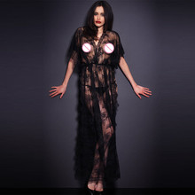 OY23 2016 black sex women night gown hot sale night wear floral lace see through sexy lingerie Night gown