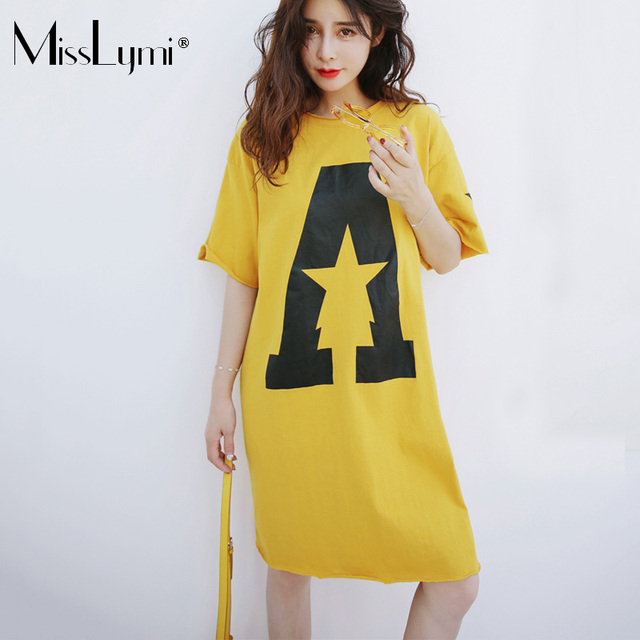MissLymi XL-4XL Plus Size Women T shirt Dress 2019 New Summer Korean Loose  Letter Print O-neck Short Sleeve Harajuku Dress 76ee53a58af2