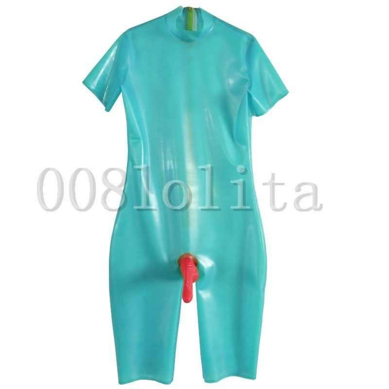 100% Karet Lateks Tampan Keren Biru Muda dengan Merah Di Atas Lutut Catsuit Ukuran XXS ~ XXL