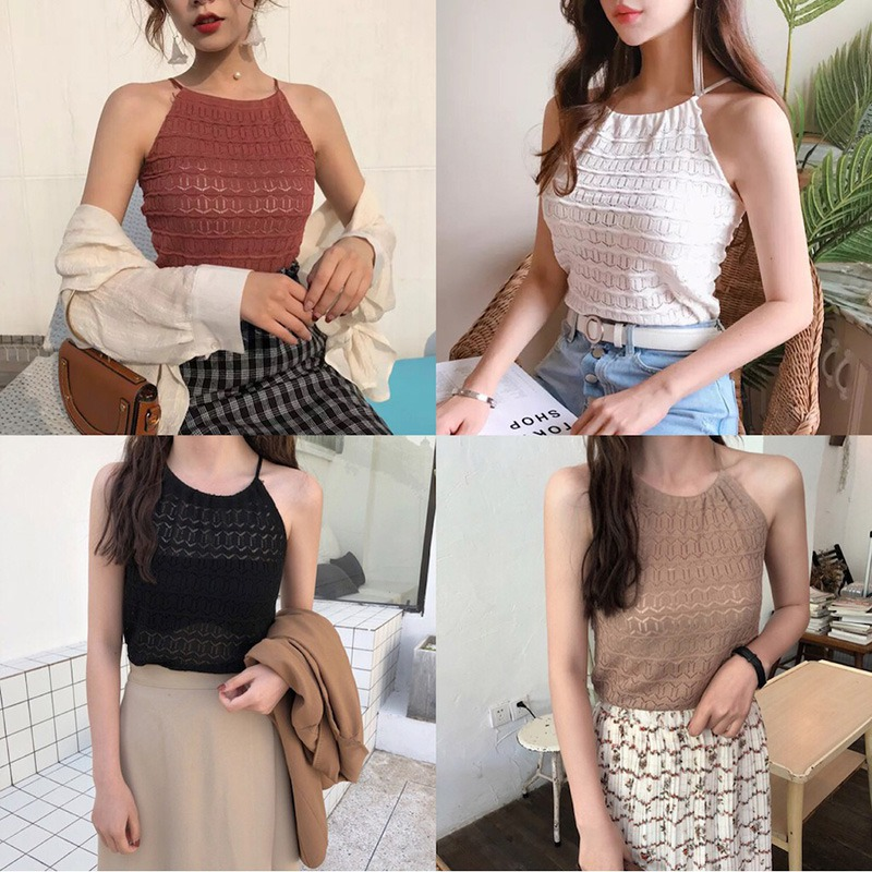 Women Sleeveless O-Neck Pullover Hollow Out Knitted Tank Top 2