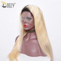 Doozy Ombre Цвет 1b/613 синтетические волосы на кружеве человеческие волосы Искусственные парики предварительно сорвал перуанские прямые волосы