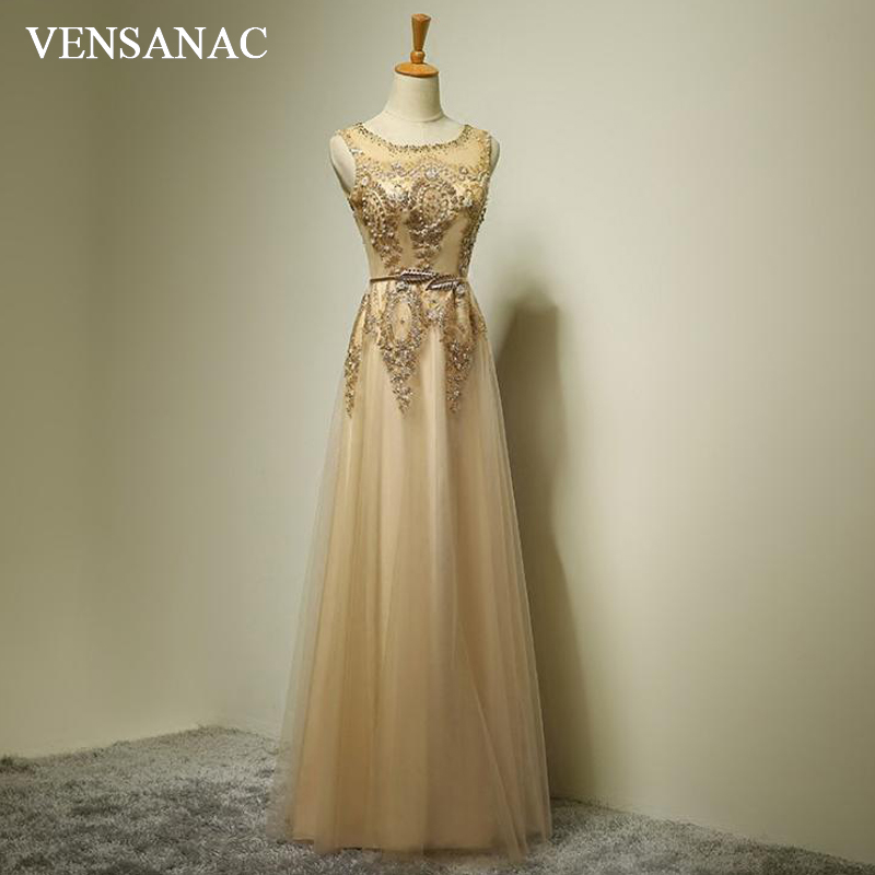 VENSANAC 2018 Crystal O Neck Lace Embroidery A Line Long   Evening     Dresses   Vintage Party Metal Sash Pearls Prom Gowns